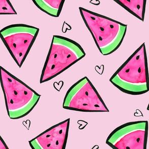 Watercolor Watermelons and Hearts on Pink