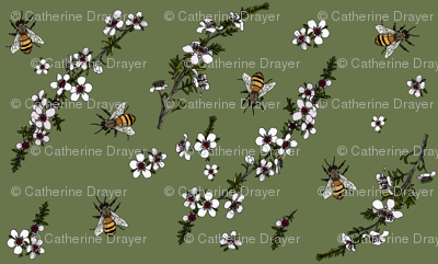 Manuka with bees on dark green