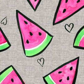 Watermelon and Hearts on Linen