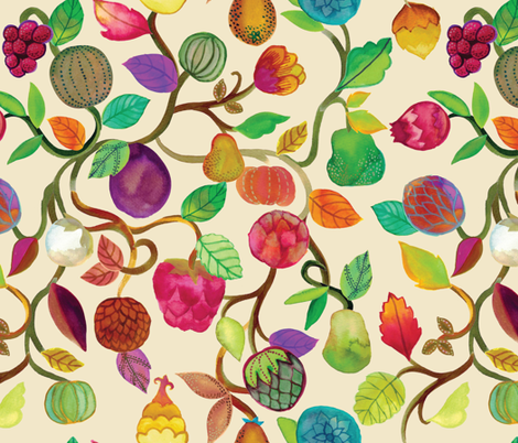 Exotic Orchard {Cream} fabric by ceciliamok on Spoonflower - custom fabric