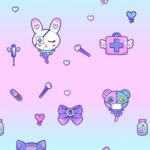 Cute Hospital Medical Pattern - Pink and Blue