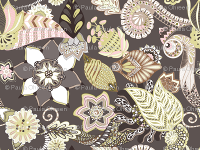 Florals Seamless Repeating Pattern on Brown