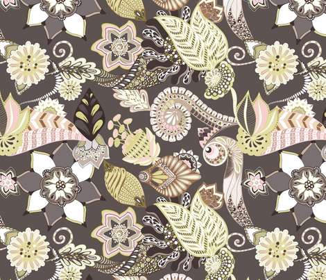 Florals Seamless Repeating Pattern on Brown fabric by paula_ohreen_designs on Spoonflower - custom fabric
