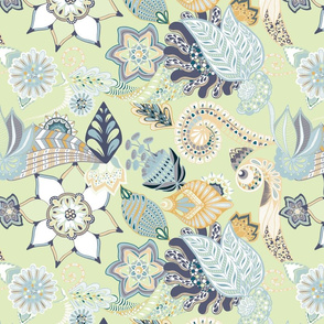 Zentangle Florals Seamless Repeating Pattern on Light Green