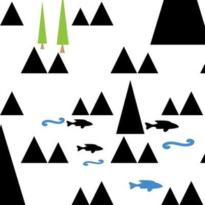 Scandinavian pattern . The mountains and the sea .