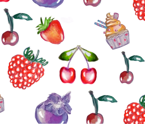 Fruits in white fabric by saraiaguiar on Spoonflower - custom fabric