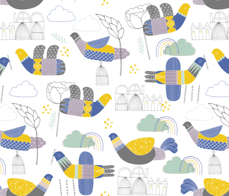 Bird Life fabric by zoe_ingram on Spoonflower - custom fabric