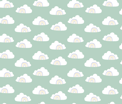 Bird Life clouds fabric by zoe_ingram on Spoonflower - custom fabric