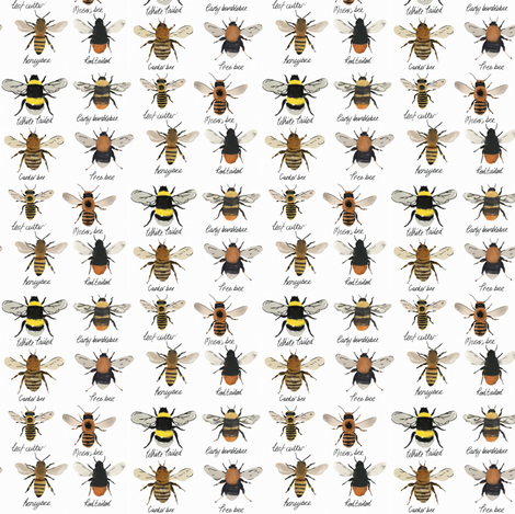 I'm going on a bee hunt // bumble bee and honey bees fabric by ruth_robson on Spoonflower - custom fabric