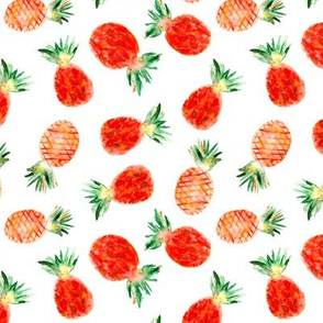 Watercolor orange pineapples