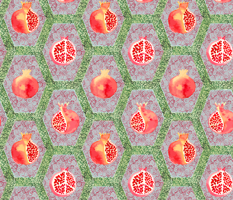 Watercolour_Pomegrantes fabric by samantha_w on Spoonflower - custom fabric