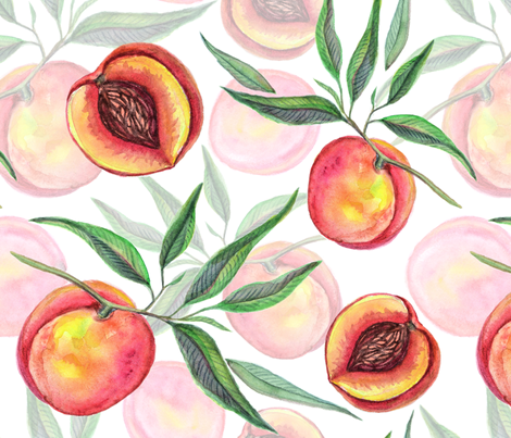 Watercolor peach  fruit fabric by olgart on Spoonflower - custom fabric
