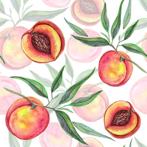 Watercolor peach  fruit fabric by olgart on Spoonflower - custom fabric