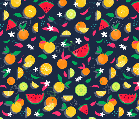 Juicy Summer Fruit Watercolor fabric by polita on Spoonflower - custom fabric