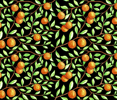 oranges in the tree (black) fabric by analinea on Spoonflower - custom fabric