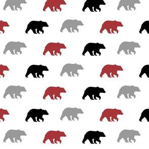 bear walk // lumberjack - scarlet, grey and black