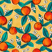 Vintage Oranges on Yellow