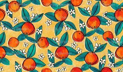 Vintage Oranges on Yellow