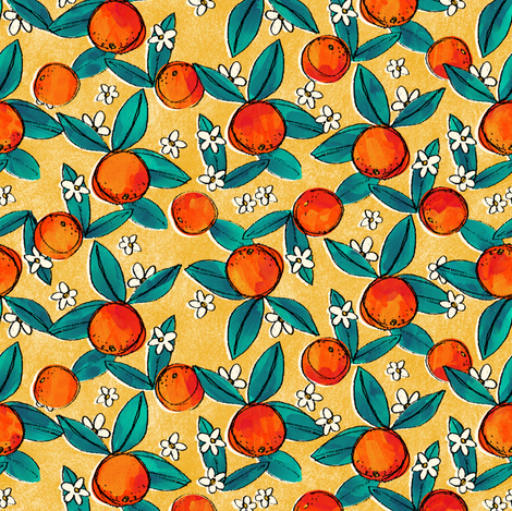 Vintage Oranges on Yellow fabric by hollybender on Spoonflower - custom fabric