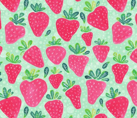 Whimsical Watercolor Strawberries fabric by jacquelinehurd on Spoonflower - custom fabric