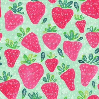 Whimsical Watercolor Strawberries