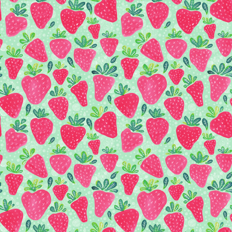 Whimsical Watercolor Strawberries fabric by jacquelinehurd on Spoonflower - custom fabric