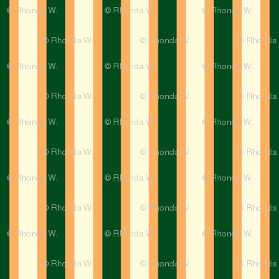 Ferny Glade Stripe - Narrow Persimmon Ribbons with Magnolia Cream and Dark Forest Green