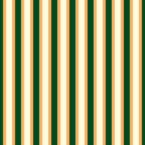 Ferny Glade Stripe - Narrow Persimmon Ribbons with Magnolia Cream and Dark Forest Green fabric by rhondadesigns on Spoonflower - custom fabric