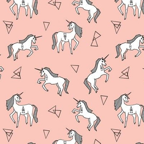 unicorn fabric // pink and white unicorns fabric cute pink and white geometric unicorns