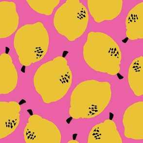 lemons fabric // simple sweet fruits fabric scandi style simple design by andrea lauren - pink