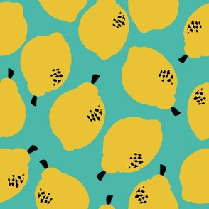lemons fabric // simple sweet fruits fabric scandi style simple design by andrea lauren - turquoise