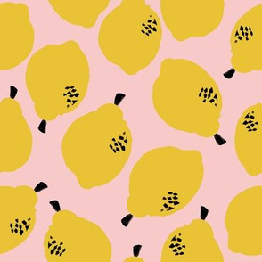 lemons fabric // simple sweet fruits fabric scandi style simple design by andrea lauren - pale pink