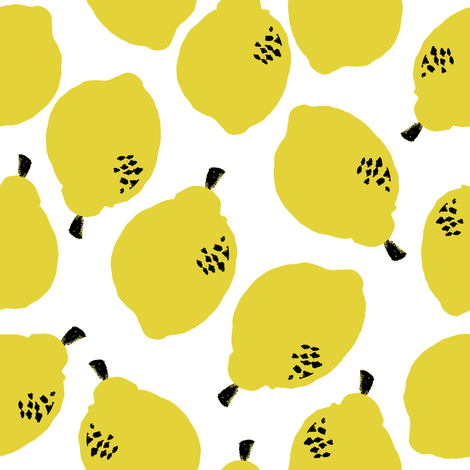 lemons fabric // simple sweet fruits fabric scandi style simple design by andrea lauren - white fabric by andrea_lauren on Spoonflower - custom fabric