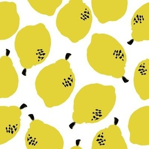 lemons fabric // simple sweet fruits fabric scandi style simple design by andrea lauren - white