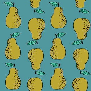 pears fabric // pear fruit design pear fabric cute nursery fabric by andrea lauren - turquoise