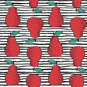 pears fabric // pear fruit design pear fabric cute nursery fabric by andrea lauren - red with stripes