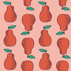 pears fabric // pear fruit design pear fabric cute nursery fabric by andrea lauren - red