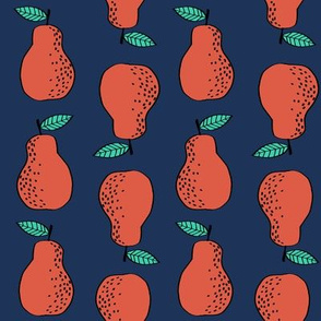 pears fabric // pear fruit design pear fabric cute nursery fabric by andrea lauren - navy
