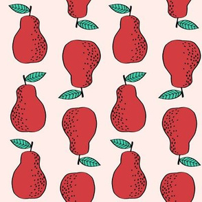 pears fabric // pear fruit design pear fabric cute nursery fabric by andrea lauren - red and pink