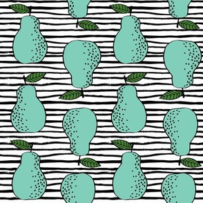 pears fabric // pear fruit design pear fabric cute nursery fabric by andrea lauren - light stripes