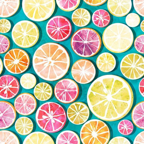 Citrus bath // blue background multicoloured lemons oranges