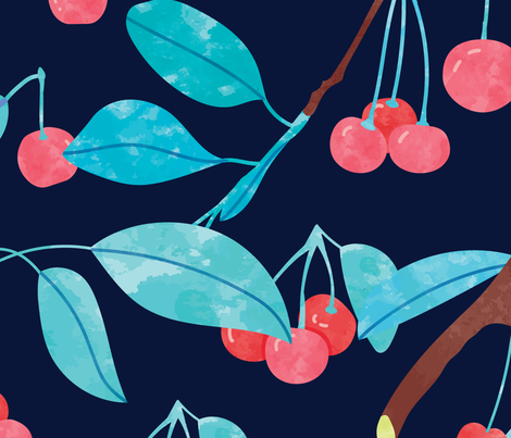 Fresh Cherries  fabric by paperondesign on Spoonflower - custom fabric