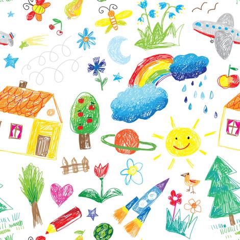 kids drawn fabric by artn'lera on Spoonflower - custom fabric