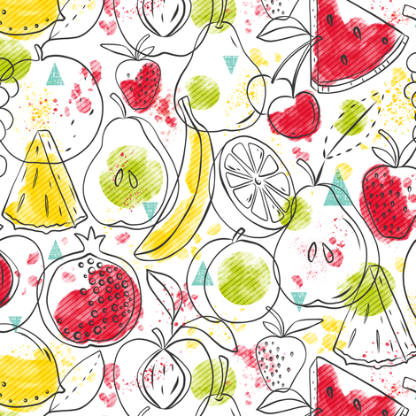Fruitopia - Watercolor Fruit fabric by heatherdutton on Spoonflower - custom fabric
