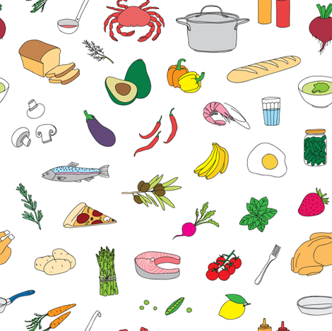 food doodles fabric by artn'lera on Spoonflower - custom fabric