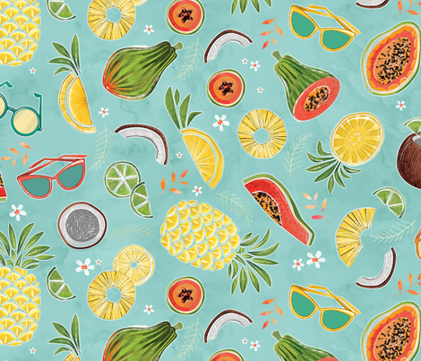 watercolo_rfruit_2-3B fabric by michaelzindell on Spoonflower - custom fabric