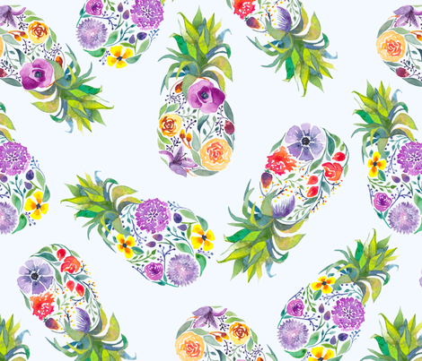 Pretty Pineapple fabric by gingerlique on Spoonflower - custom fabric