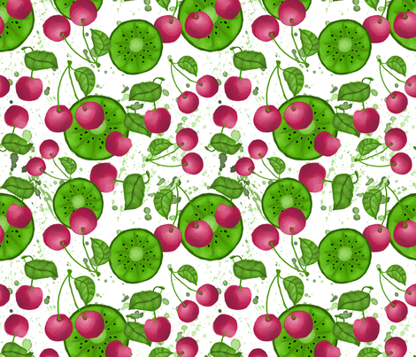 Cherry and kiwi fabric by eezzeedesign on Spoonflower - custom fabric