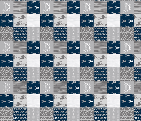 """2"""" Patchwork Deer - Little Man - Navy and Grey fabric by sugarpinedesign on Spoonflower - custom fabric"""