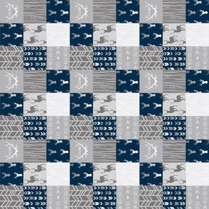 "2"" Patchwork Deer - Little Man - Navy and Grey"